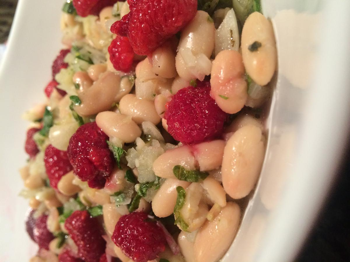 Navy Beans in Raspberry Vinaigrette