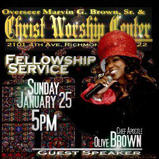 Chief Apostle Olive Brown is speaking at CWC!