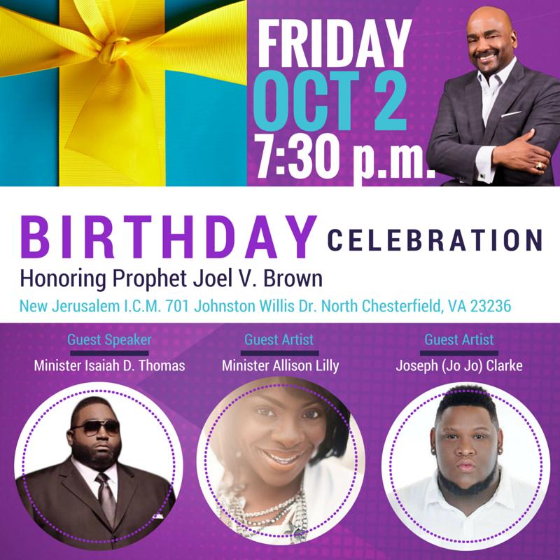 Birthday Celebration For Prophet Joel V. Brown