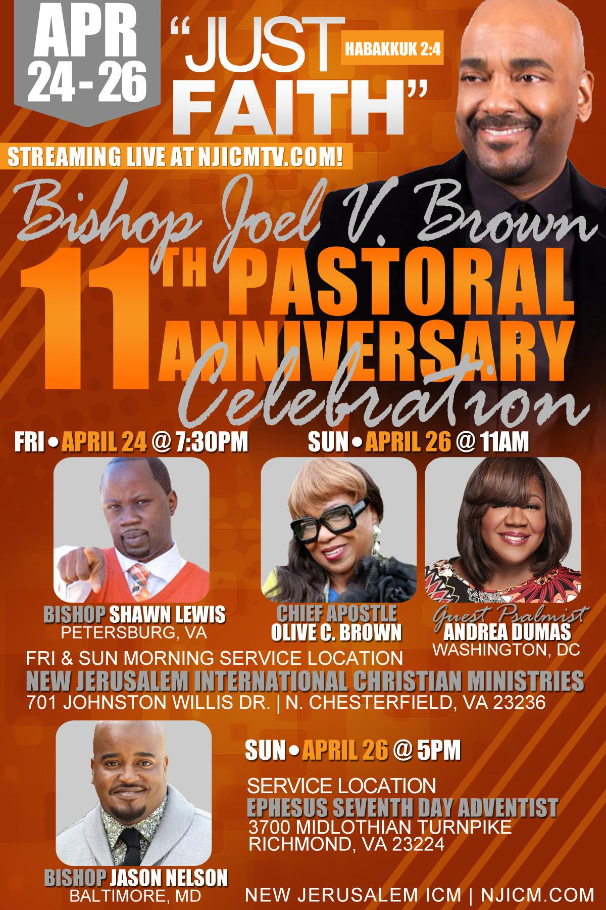 11th Pastoral Anniversary Celebration honoring Bishop Joel V. Brown