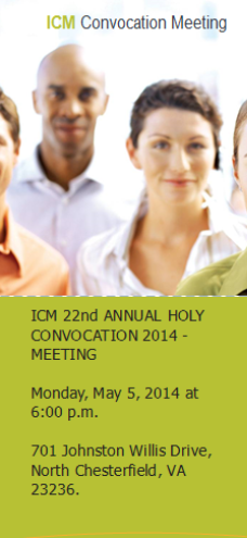 ICM 22nd ANNUAL HOLY CONVOCATION 2014 MEETING