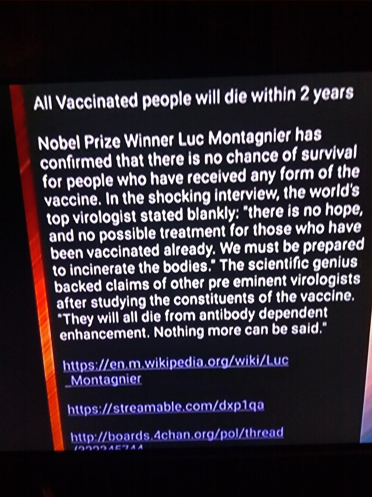 This another post by French virologist and Nobel Prize winner Luc Montagnier
