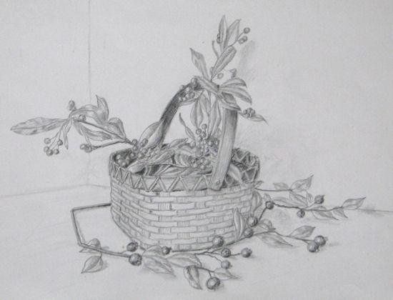 Pencil Sketch with Basket and Berries.