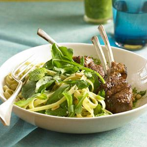 Minty Pasta Salad & Lamb Dinner