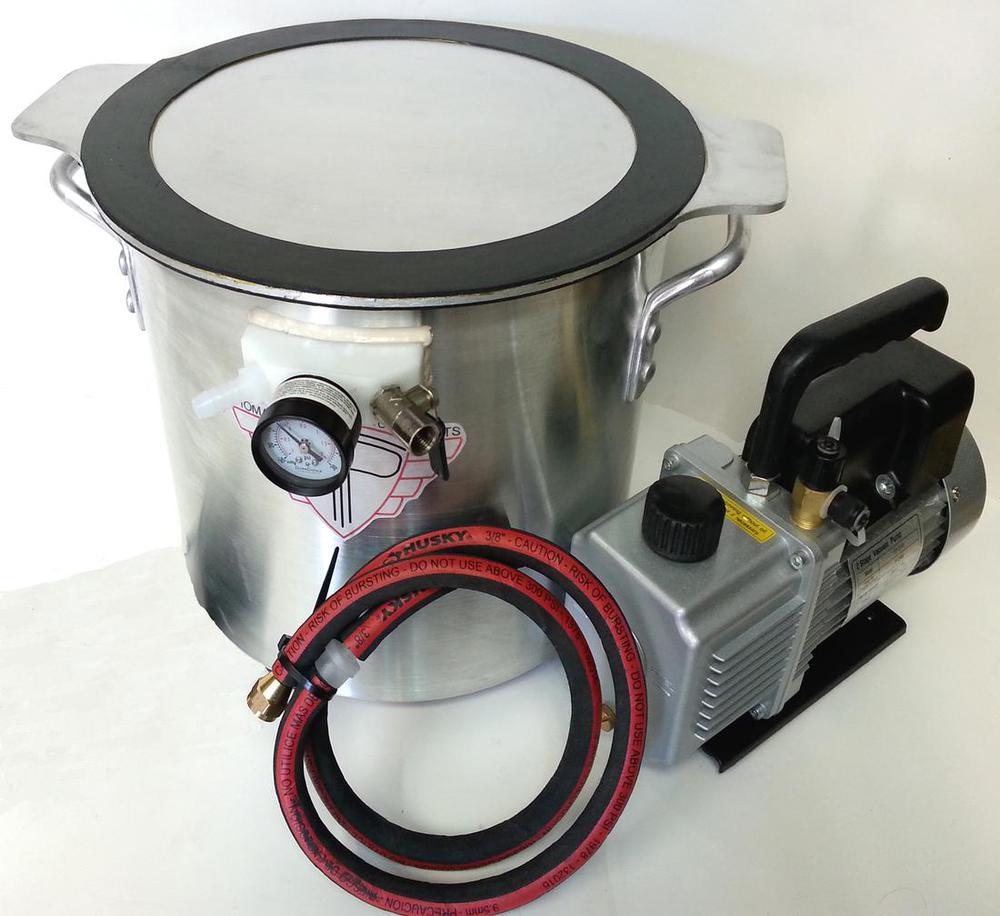 3 Gallon Vacuum Chamber Aluminum Lid with 12CFM Vacuum Pump