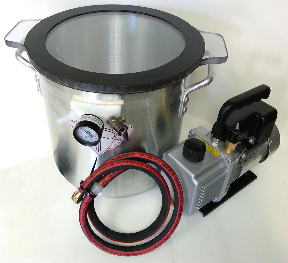 3 Gallon Vacuum Chamber Poly Lid with 12CFM Vacuum Pump