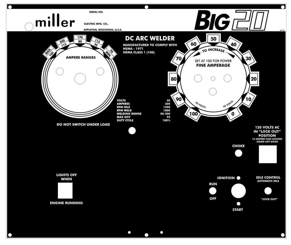Miller Big 20 Control Plate
