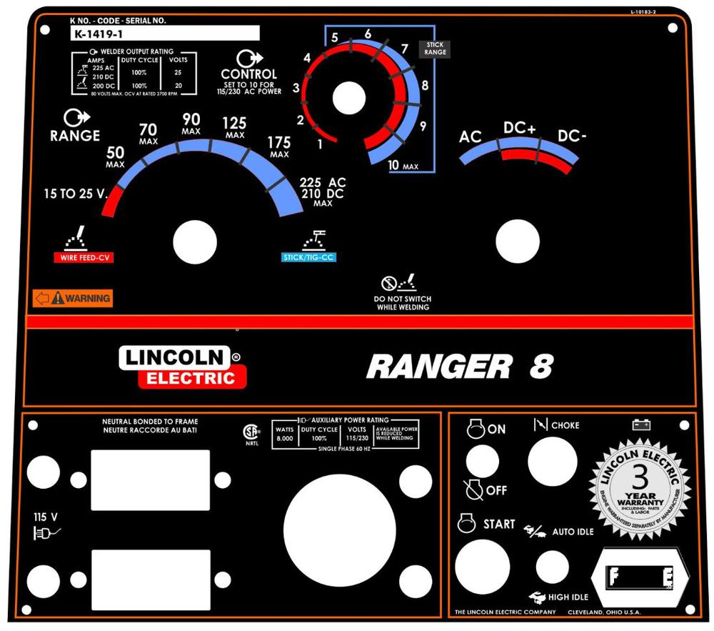 Lincoln Welder Control Plates Decals Miller Welders Control Plates Decals Welding Helmets Welding Decals Hobart Welders Factory Authorized Lincoln Control Plate Ranger 8 L 10183 2