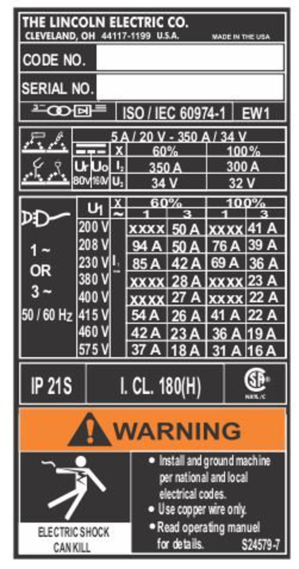 Lincoln Electric Inverter Welder Decal