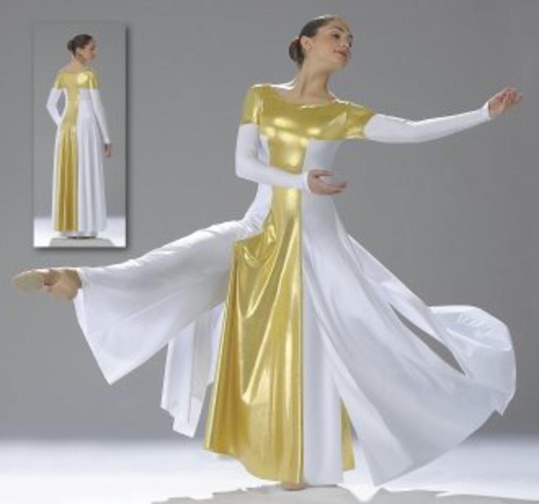 NWT PRAISE LITURGICAL DANCE Palazzo Pants Flag Gold Ladies Sizes Praisewear