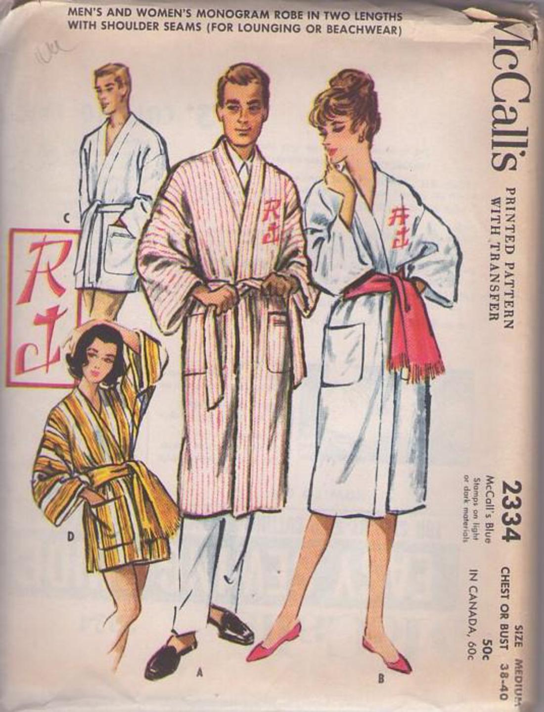 MOMSPatterns Vintage Sewing Patterns - McCall s 2334 Vintage 50 s Sewing  Pattern STYLISH Mens or Ladies Front Wrap Spa Robe 72c183fb2