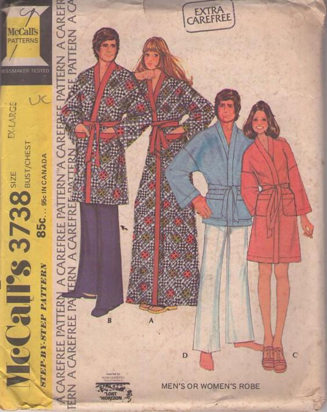 Momspatterns Vintage Sewing Patterns Mccall S 3738 Vintage 70 S Sewing Pattern Neat Extra Carefree Inspired By Ross Hunters Lost Horizon Wrap Around Kimono Robe Bathrobe Set Spa Robe For Men Women