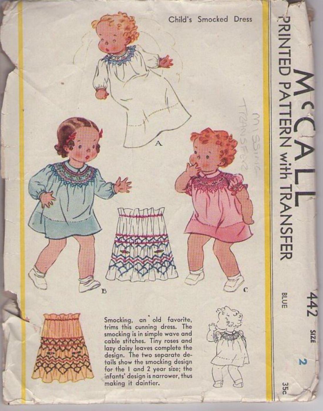 cf0fbd672 MOMSPatterns Vintage Sewing Patterns - McCall's 442 Vintage 30's Sewing  Pattern PRECIOUS Toddler Girls' Smocked Dress in 2 Styles & Bunting Gown,  Smocking ...