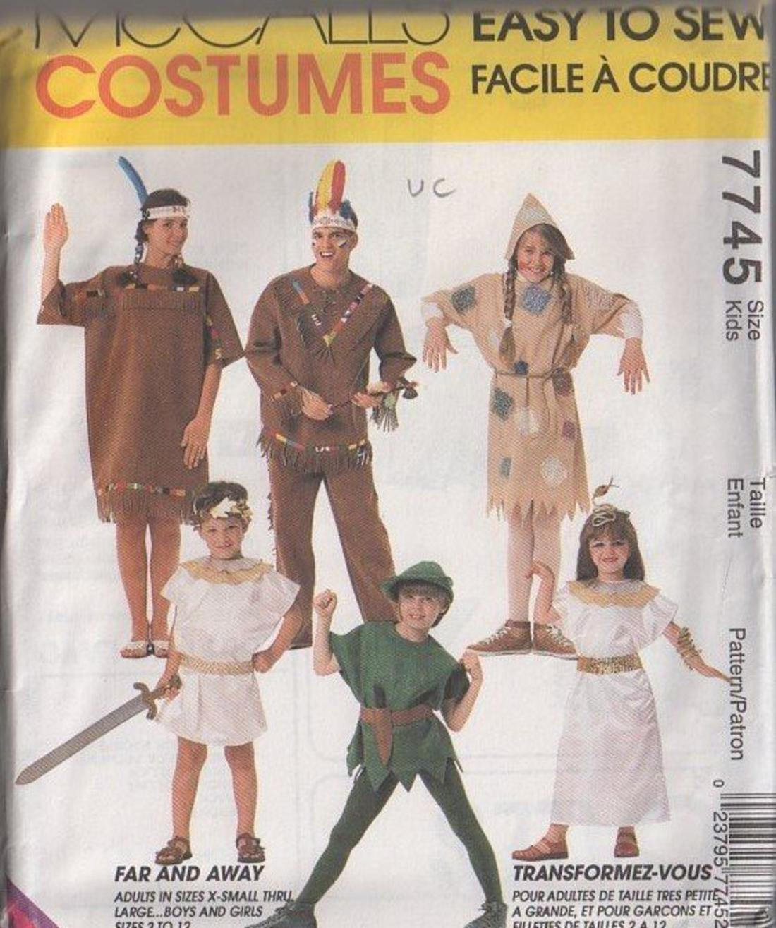 momspatterns vintage sewing patterns mccalls 7745 retro 90s sewing pattern easy kids boys girls halloween costume set american indian gladiator
