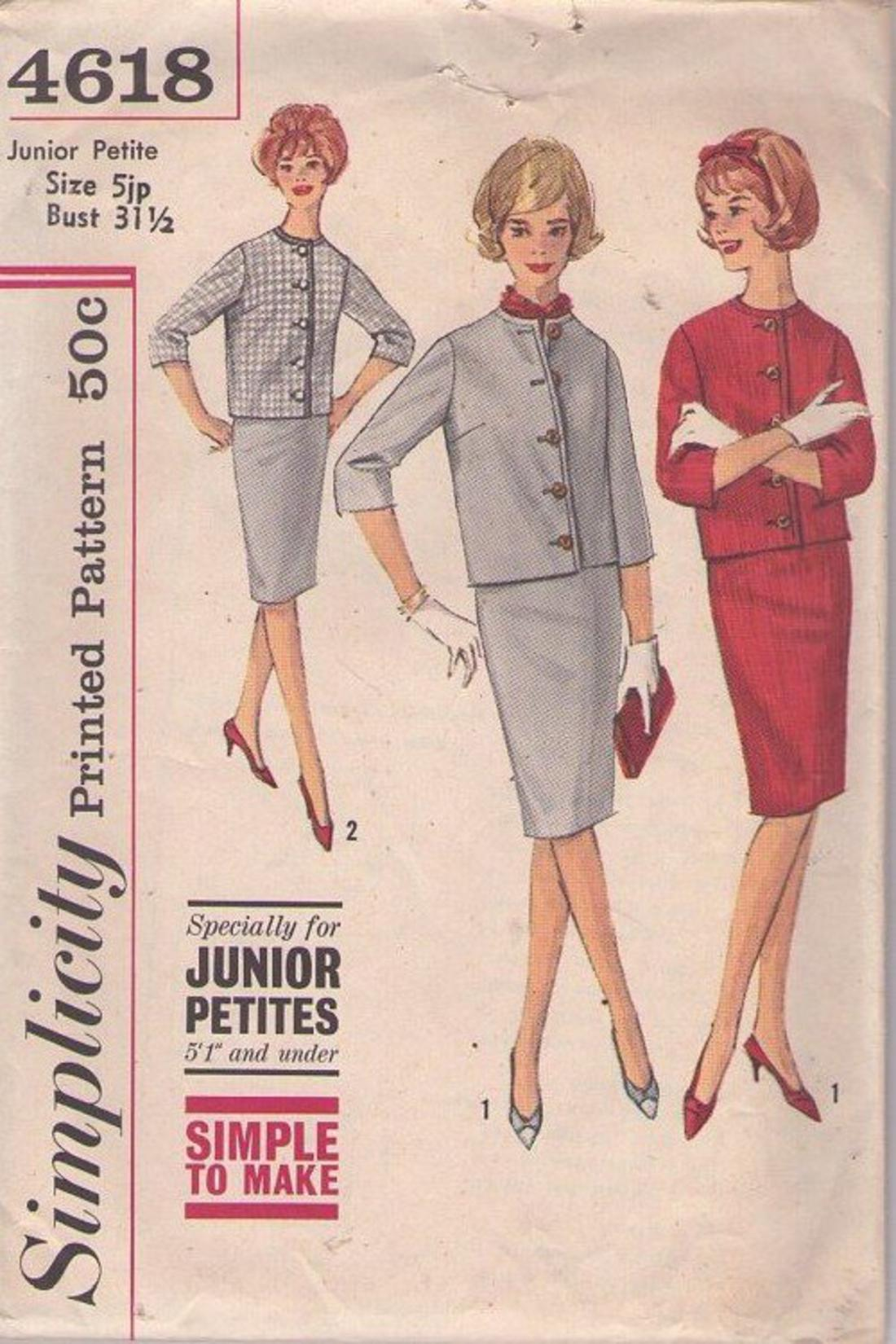 8ade21800a MOMSPatterns Vintage Sewing Patterns - Simplicity 4618 Vintage 60's Sewing  Pattern SWEET Petite Jackie O Suit Separates, Collarless Jacket, ...