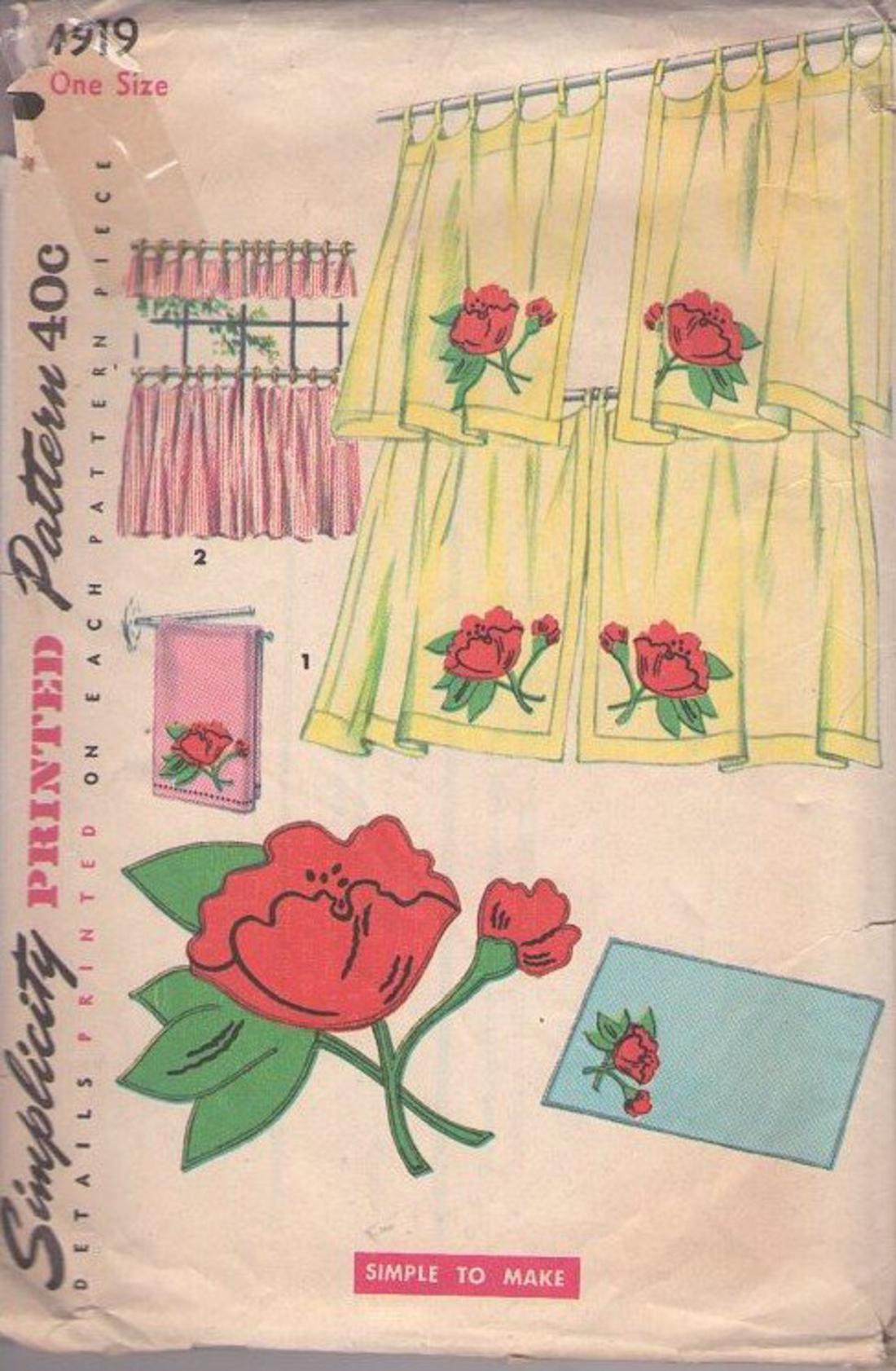 Momspatterns Vintage Sewing Patterns Simplicity 4919 50 S Pattern Eames Era Retro Kitchen Cafe Curtains Window Coverings Poppy Applique Cut