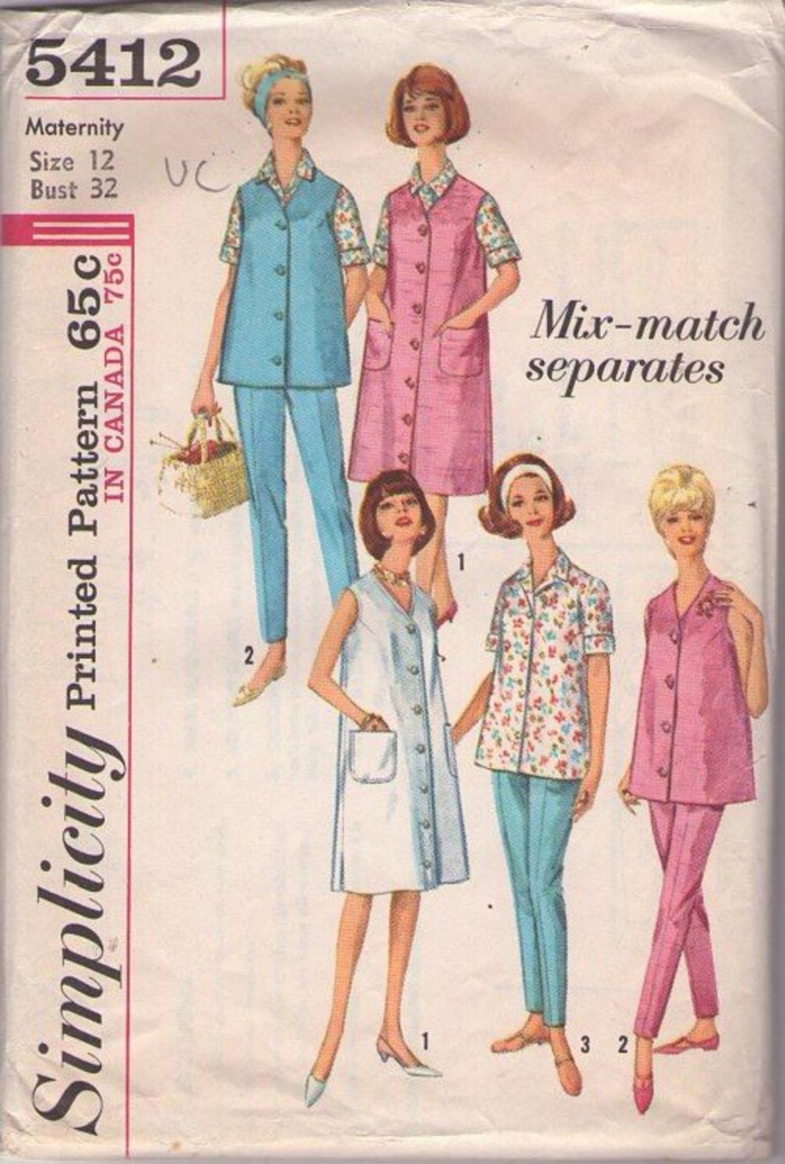 50e9e20553b9d MOMSPatterns Vintage Sewing Patterns - Simplicity 5412 Vintage 60's Sewing  Pattern SUPER CUTE Jackie O Maternity Blouse, Pants, Jumper, Coat Dress Mix  ...