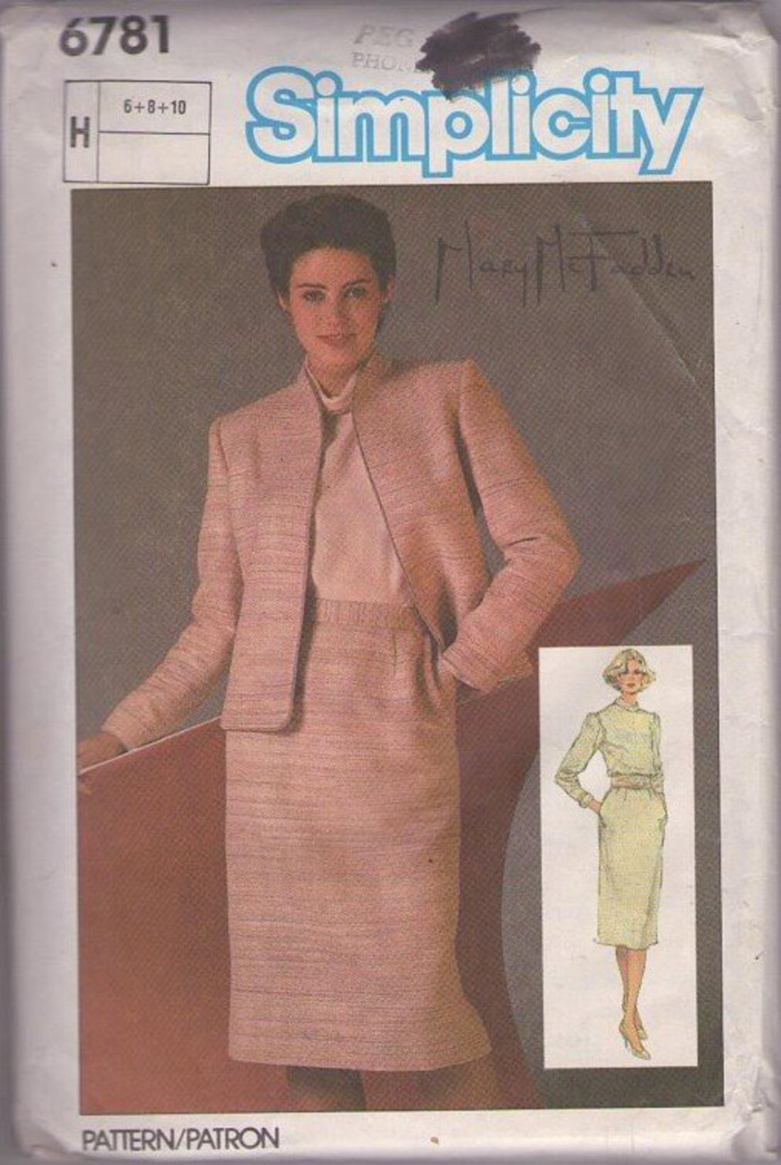 Momspatterns Vintage Sewing Patterns Simplicity 6781 80 S Pattern Chic Designer Mary Mcfadden 3 Piece Suit Dress Roll Collar Blouse