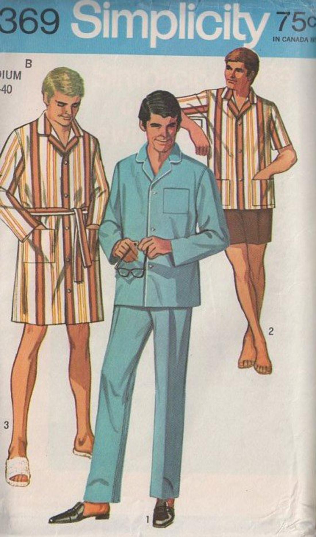 Momspatterns Vintage Sewing Patterns Simplicity 8369 Vintage 60 S Sewing Pattern Fab Men S Don Draper Mad Men Pajamas Top Pants Fly Front Boxers Shorts Sleep Coat Robe Big Tall Size S