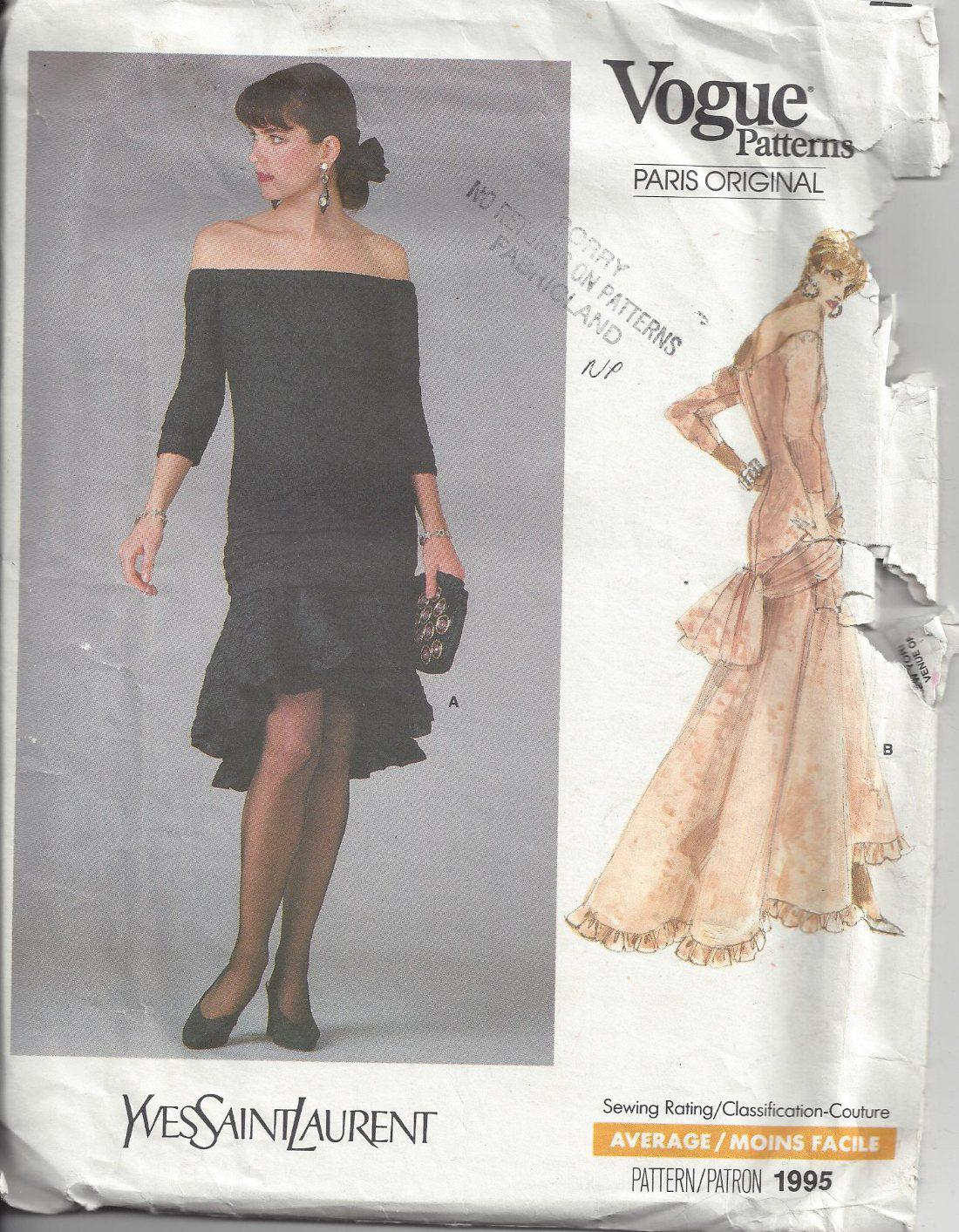 8fbba467f99 ... Sewing Pattern INCREDIBLE Paris Original Designer YSL Yves Saint Laurent  Off the Shoulder, Drop Waisted Asymmetrical Cha Cha Skirt Cocktail Party  Dress, ...