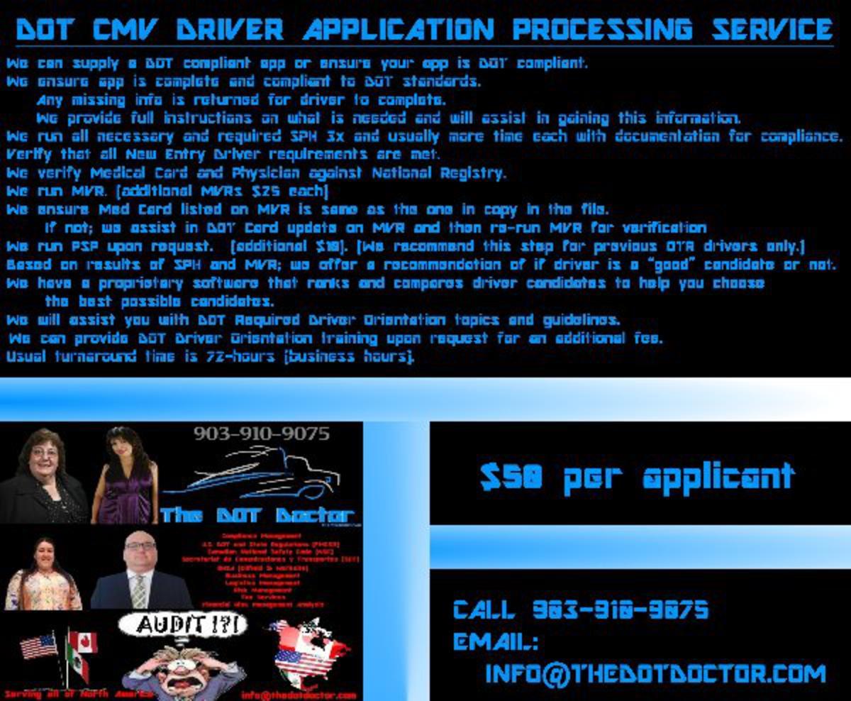 DOT CMV Driver Application Processing Service.  Only $50!!!
