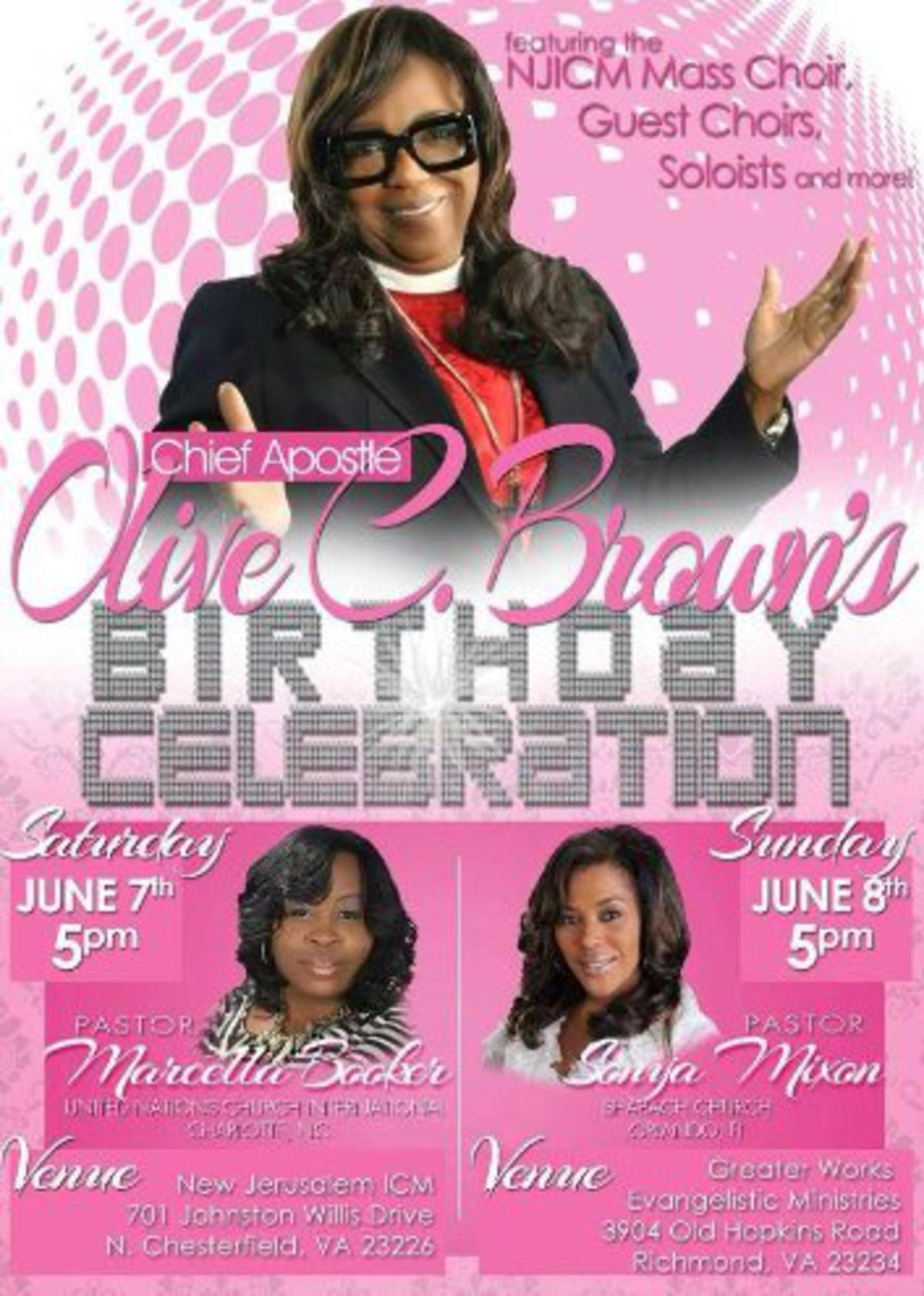 Birthday Celebration for Chief Apostle Olive C. Brown
