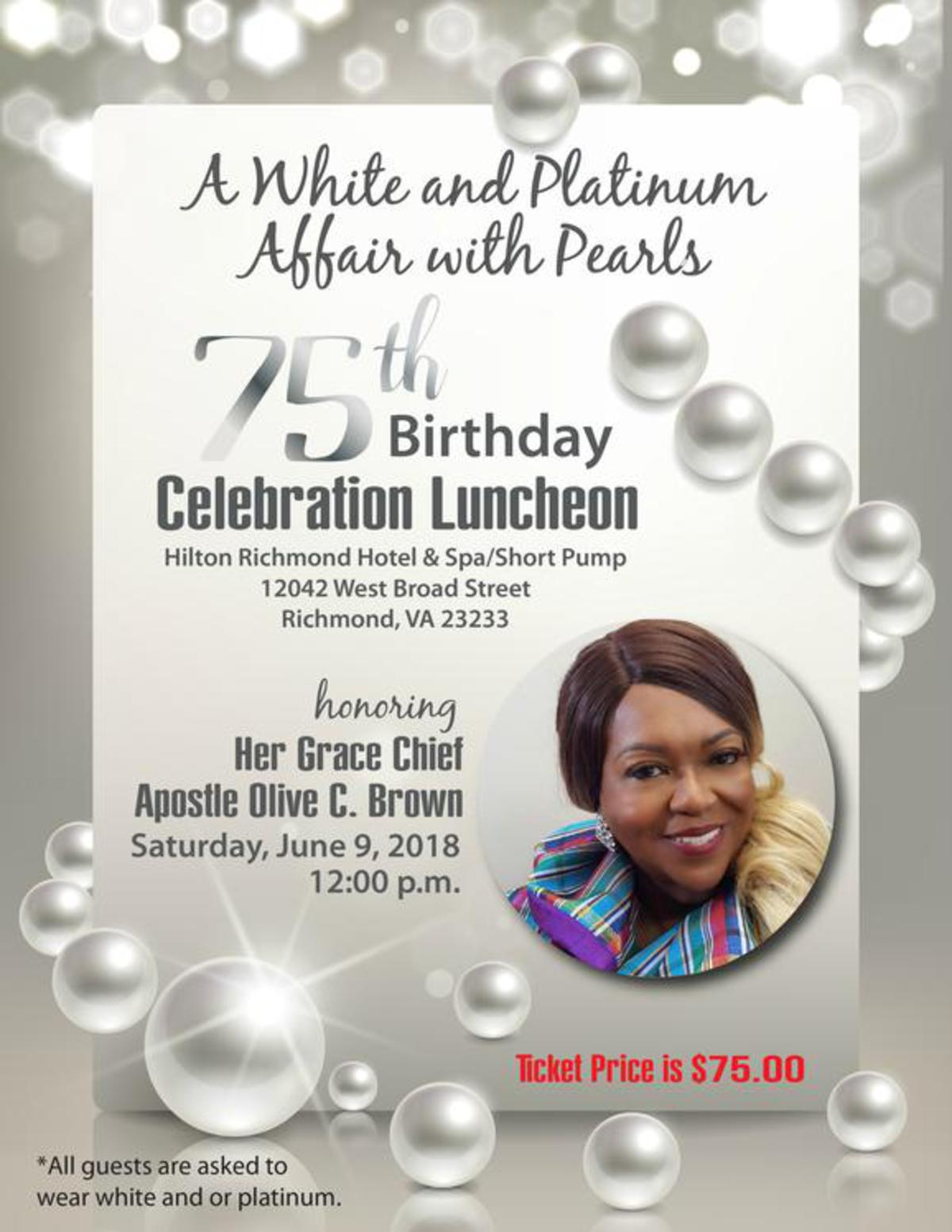 Celebrate Chief Apostle Olive Brown's Birthday!