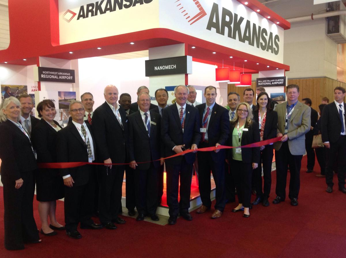 Governor Asa Hutchinson opens Arkansas booth at Paris Air Show