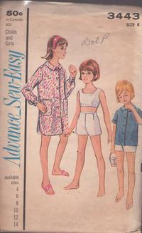 85d32cffd66 Advance 3443 Vintage 60 s Sewing Pattern CUTE Sew Easy Girls Summer Crop  Top