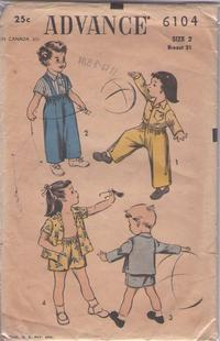 ffc7bf7916d Advance 6104 Vintage 50 s Sewing Pattern CLASSIC Boys   Girls Mix   Match  Separates