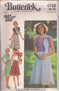0f5e2a09e Butterick 4149 Vintage 70's Sewing Pattern SASSY Fast & Easy Scoop Neck  Tank, Tshirt Top, Tunic Blouse, Flared Bias Skirt & Scarf Sash Size 10