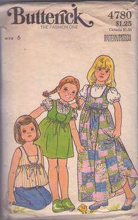 1d53069c4 Butterick 4780 Vintage 70's Sewing Pattern PRECIOUS Girls Flower Shaped  Pocket Smock Top, Jumper, Scoop Neck Dress & Peasant Blouse Size 6