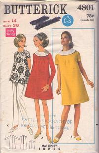 feeabe13cb1eb Butterick 4801 Vintage 60's Sewing Pattern FABULOUS Mod Momma Pleated Front  Maternity Tent Dress, Smock Top Blouse, Space Age Twiggy Size 14