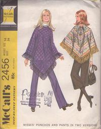 8ec758243e McCall's 2456 Vintage 70's Sewing Pattern GROOVY Retro Hippie Fringed  Poncho, Collared Cape, Lace Up Front, Pants & Gauchos Size 14