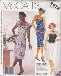 bcd15698e9 McCall's 2472 Vintage 80's Sewing Pattern INCREDIBLE Sexy Pinup Vixen  Shirred Sleeve Sweetheart Basque Waist New Wave Cocktail Party Dress Size 10