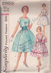 77f5690649 Simplicity 2955 Vintage 50's Sewing Pattern BEAUTIFUL Rockabilly Summer  Bride Full Skirt Sundress, Cocktail Party Dress, Sheer Cropped Topper  Jacket ...