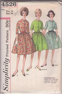 b7d3ee9c6 Simplicity 4526 Vintage 60's Sewing Pattern PRETTY Classic Proportioned  Short, Medium Tall Kimono Sleeve Shirtwaist Day Dress, Full Pleated Skirt 3  Styles ...