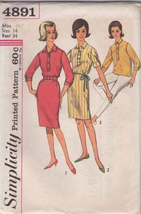 c3ec47040 Simplicity 4891 Vintage 60's Sewing Pattern NIFTY Rockabilly Mad Men  Housewife Button Band Collared Shirtdress, Shirt Dress & Blouse Size 14