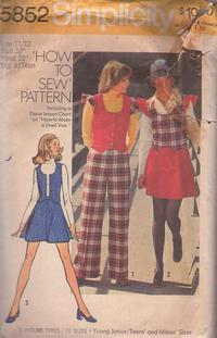 980b7f2cc Simplicity 5852 Vintage 70's Sewing Pattern COOL Easy How to Sew Scoop Neck  Flutter Sleeve Weskit Vest, Flared Mini Skirt, Cuffed Pants Size 11/12