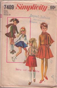 1dd35f892d Simplicity 7409 Vintage 60's Sewing Pattern SPORTY Girls Skating Circle  Skirt, Pleated Kilt Skirt, Panties, Winter Scarf Set Size 6
