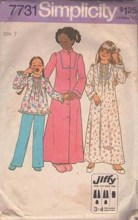 Simplicity 7731 Vintage 70 s Sewing Pattern LOVELY Girls Modest Pin Tucks  Front Pajamas Top 326476848