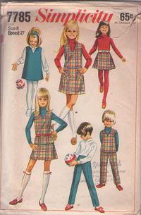 94ccc329203a7 Simplicity 7785 Vintage 60's Sewing Pattern SUPER CUTE Toddler Girls Brady  Bunch School Separates, V Neck Vest, Top, Jumper, Dress, Mini Skirt, Pants  Unisex ...