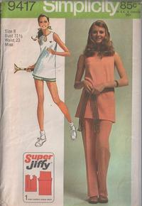 8757c7224ad Simplicity 9417 Vintage 70 s Sewing Pattern DANDY Easy Super Jiffy Peekaboo  Keyhole Tennis Blouse