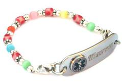 Girls Fun Candy Dots Beaded Medical ID Alert Bracelet