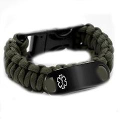 Kpi13sb Paracord Medical Id Bracelet Black Stainless Tag