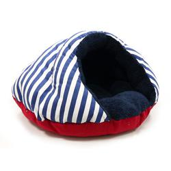 Dogo Burger Nautical blue and white striped cozy Pet Beds