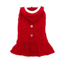 white pompom buttons, black belt on a red Santa dog dress