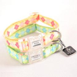 argyle dog collar in pink or blue pastels