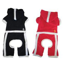 red or black terrycloth dog jumper