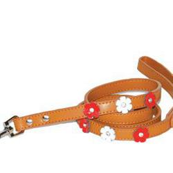 Lead is adorned with leather flowers and a crystal accent